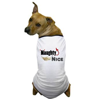 Naughty or Nice Dog T-Shirt from cafepress store: AG Painted Brush T-Shirts. #naughty #nice #Christmas #dog #pet #tshirt