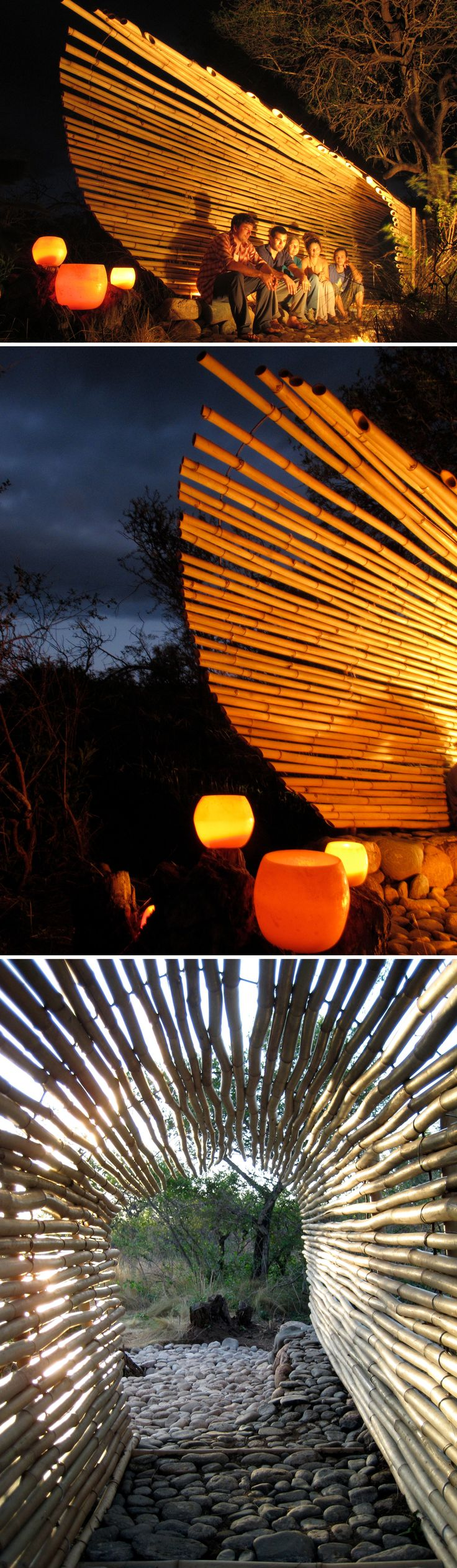 A modern gazebo made out of bamboo, perfect for your backyard hangouts by the fire pit! Check out the website for step-by-step instructions!