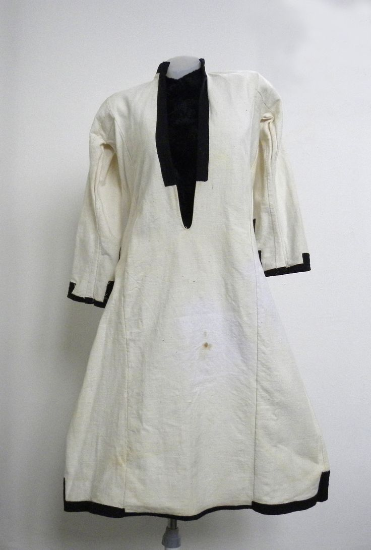Kosula (shirt) made from cotton canvas, embroidered with black thread on the bottom of the sleeves, characterized for that ethnographic area of Macedonia