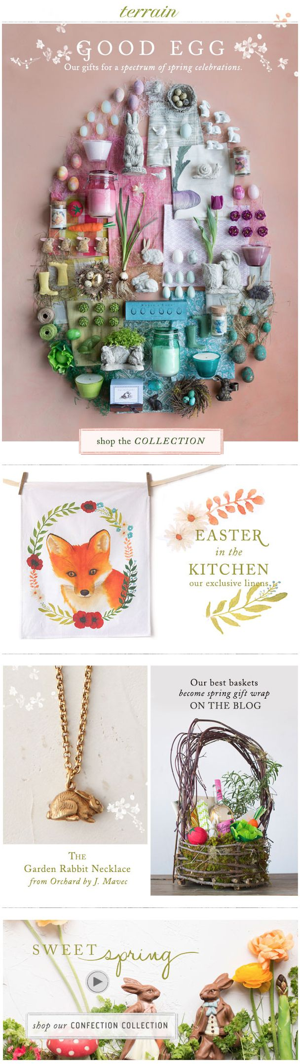 Fold down pieces from collection and place in the shape of an Egg. Take picture and place on Email Marketing