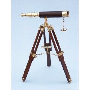 "Brass Telescope on Stand 20"" - Wood - Brass Telescopes & Spyglasses - Nautical Toy Solid Brass Home Decor - Executive Promotional Gift (Toy)  http://howtogetfaster.co.uk/jenks.php?p=B003VDC4TI  B003VDC4TI"