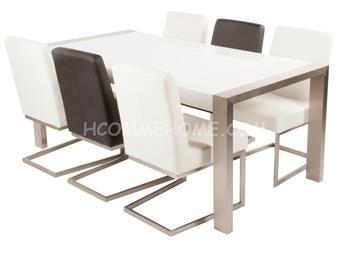 Table de salle manger design laqu blanc carla table de salle manger de - Table salle a manger design blanc laque ...