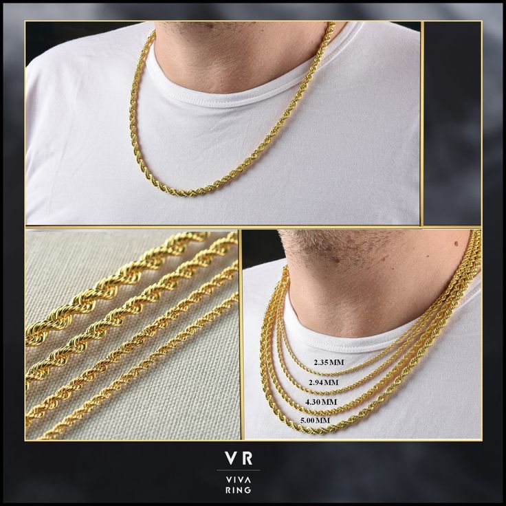 Solid 14k Gold Rope Chain Necklace Gold Women Chain Hollow Gold Chain Rope Chain Necklace 16 28 Inc 2 35mm To 5mm Thick Gold Chain Gold Rope Chains Thick Gold Chain 14k