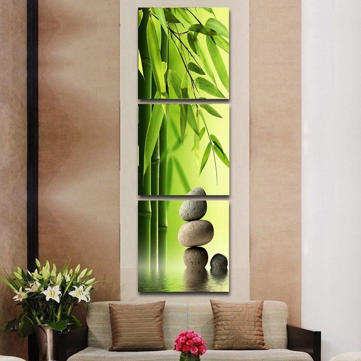 3 Панель Художник Современные Картины Отпечатки На Холсте Зеленый Бамбук И Каменные Стены Картинки Для Гостиной Украшения Дома Без Рамки(China (Mainland))