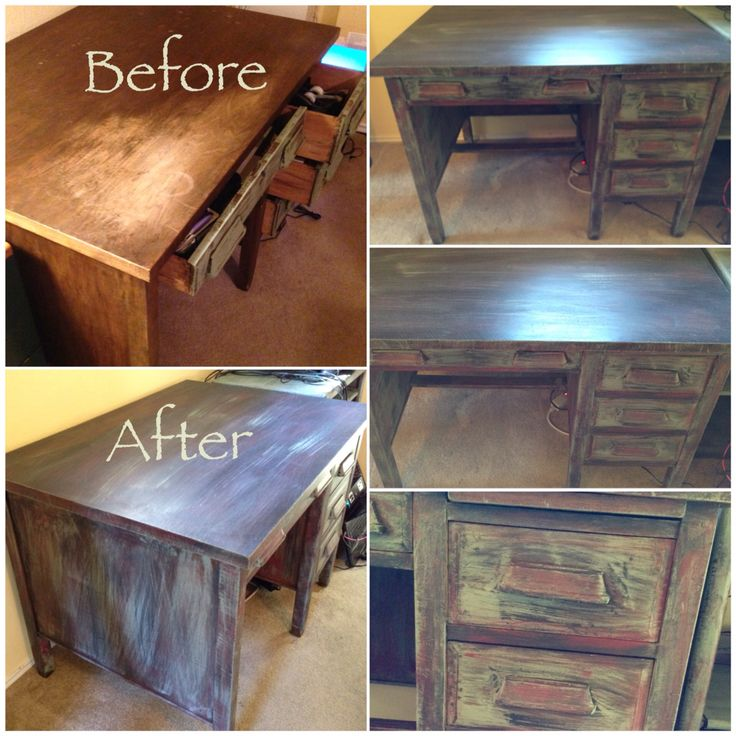 Old teachers desk painted using chalk paint  Repurposed