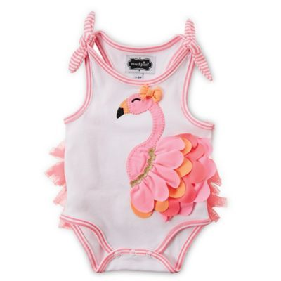 Mud Pie® Flamingo Bodysuit in White/Pink/Orange - BedBathandBeyond.com