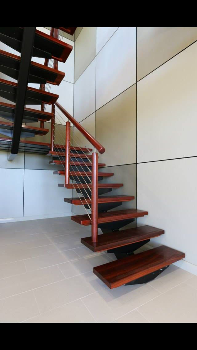 Steel and Jarrah Timber open staircase