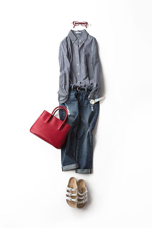 コーディネート詳細(ボーダーTをギンガムチェックシャツにしてみたら・・・)| Kyoko Kikuchi's Closet|菊池京子のクローゼット