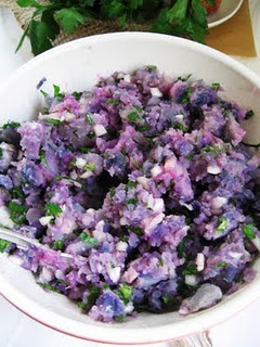 Smashed Majestic Purple Potatoes - part of recipe at http://nymag.com ...