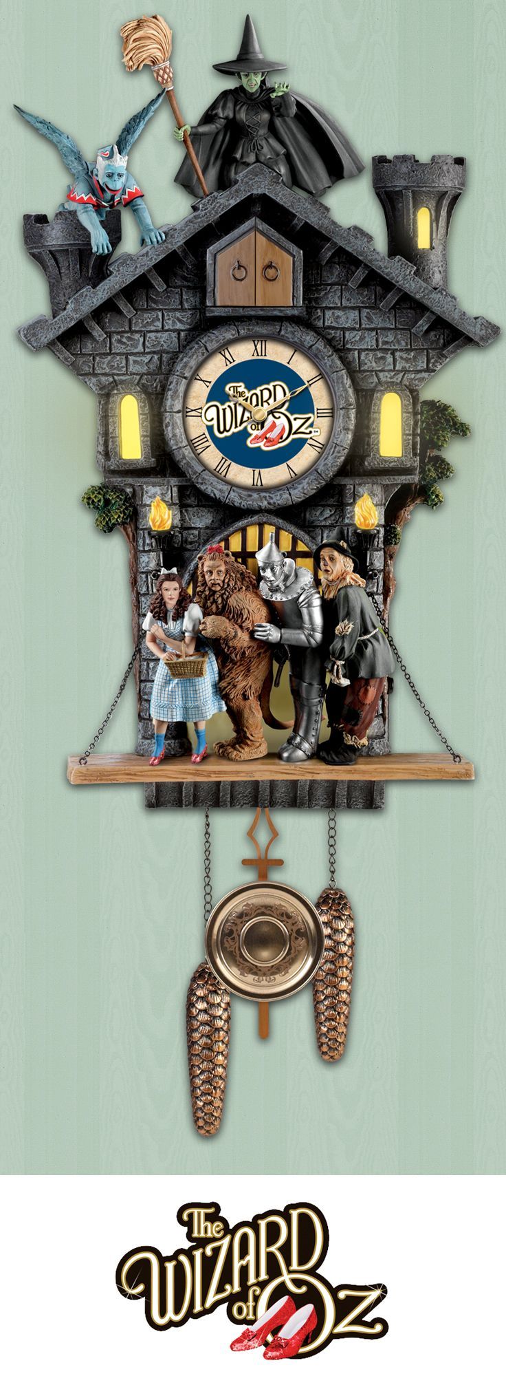 Pay tribute to a film classic with this first-of-its-kind Wizard of Oz Cuckoo Clock.