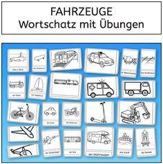 Wortschatz, Fahrzeuge, Lesen, Schreiben, Legasthenie, DAZ, Sprachförderung, DAF, Eltern, Kinder, Lehrer, Schule