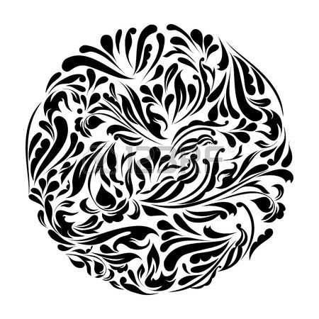 Monochromatyczny Czarny I Biały Ornament Koronki Cliparty ...