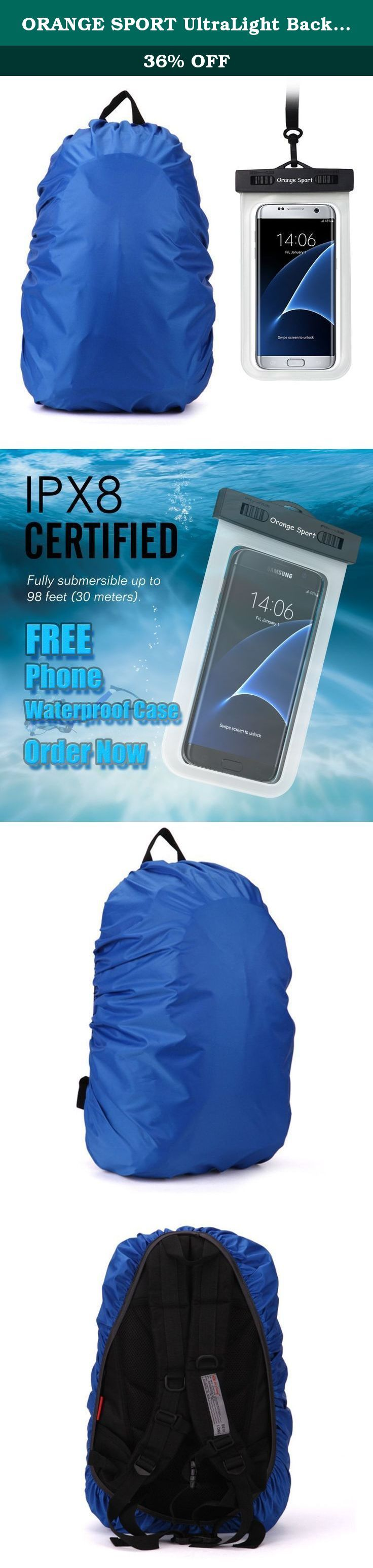 """ORANGE SPORT UltraLight Backpack Rain Cover With PU Stored Bag&Cellphone Waterproof Case,3 Color Available,15-80L For Camping,Hiking,Cycling. S: Fit Range: 1800 - 2500 cu in/ 30 - 40 L 27"""" X 15"""" X 8.5"""". Material: 210T nylon, 3000mm waterproof PU coating,guaranteed not to let rain into your backpack. With elastic design, it is able to adjust the size according to different backpacks. Compact and portable: folds down and includes a drawstring bag for storage. Perfectly Fit with School..."""