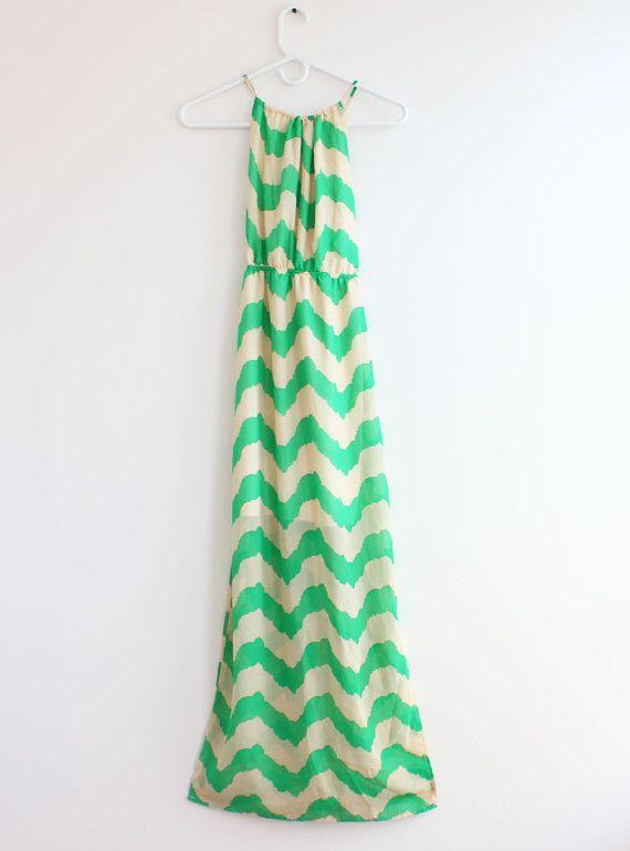 Mint Chevron Maxi Dress Causal Maxi Dress Long by ThreeDressy