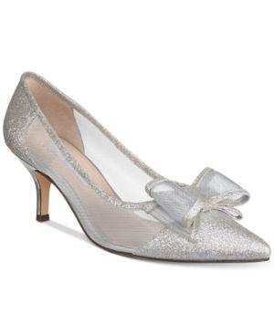 85d977b40e4 Nina Bianca Mesh Bow Kitten Heel Pumps - White 6.5M