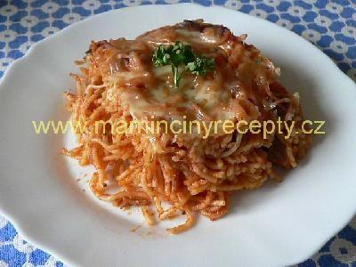 Zapečené špagety s masem