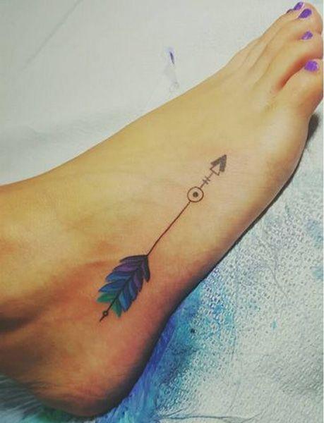 Cutest Blue Shade Arrow Tattoo On Foot for Women