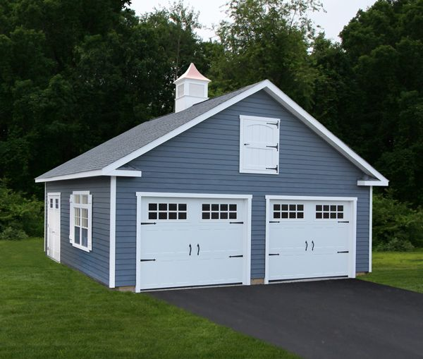 Car Garage Loft Retro Style: 24' X 26' Vintage Cape Garage: SmartSide Siding, Carriage