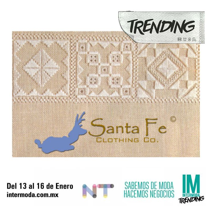 ■ #SantaFeClothingCo. InterModa Guadalajara, 13 al 16 de Enero, 2015 ■ We'll present with tendencies, which transform concepts of the Textile Industry, providing you a reliable, comprehensive, guide to shopping (raw materials, samples and color swatches), displaying not only the materials, its diferent embroidery techniques, and finishes, but also accessories, accoutrements and designs. Visit us. ■ Ahí presentaremos tendencias con las que transformamos conceptos de la industria textil…
