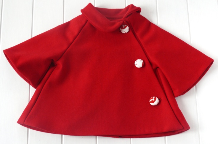 Red wool poncho jacket for girls by Little ChilliesRed Ponchos, Red Wool, Ponchos Jackets, Kids Fashion, Sewing Jackets For Girls, Girls Clothing, Kids Clothing, Wool Ponchos, Baby Fashion