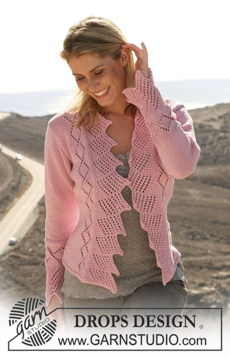 "DROPS jacket with textured pattern in ""Muskat"". Size S – XXXL ~ DROPS Design"