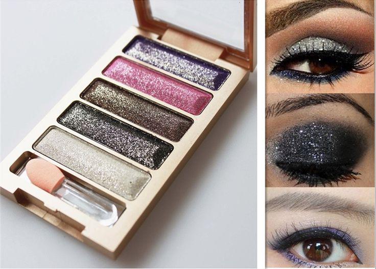 Het hete verkopen 5 kleuren oogschaduw make-up oogschaduw palet om geconfronteerd, super flash diamant hoge kwaliteit glitter oogschaduw met borstel $2.55 (free shipping)