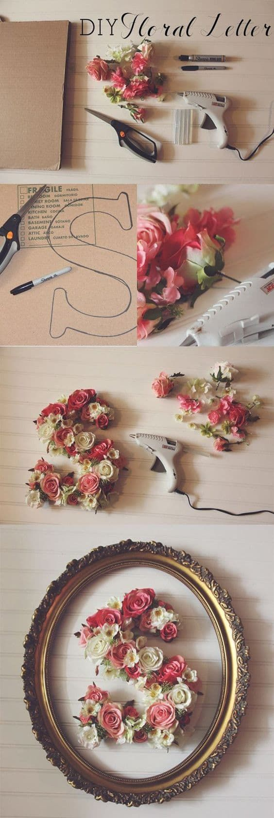 Floral Letters DIY Wall Art Easy Video Instructions – getting crafty