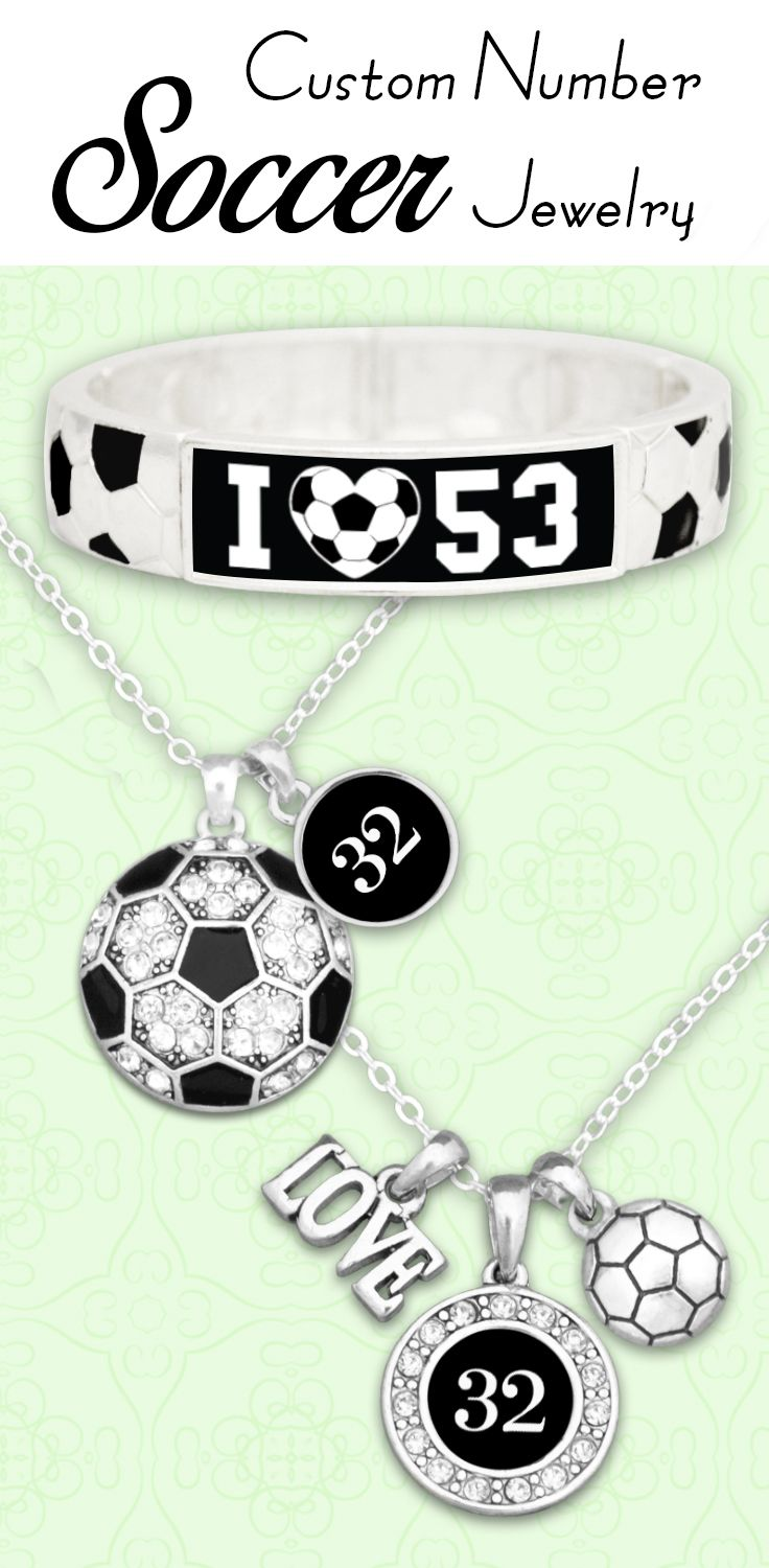 Soccer jewelry with your favorite player's number, all for $9.98 // Great for team fundraisers and end-of-season gifts! Click to see our entire Soccer Collection!