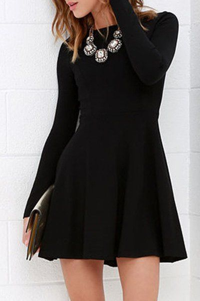 Black Round Neck Long Sleeve Flare Dress