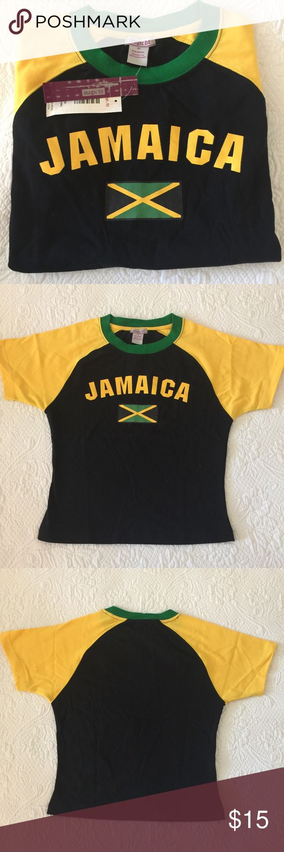 "Jamaica 🇯🇲 T-Shirt Jamaica 🇯🇲 T-Shirt... ""Magic Fit"" 100% Cotton, very good quality. Bold colors: Black...Yellow... Green... On front of Shirt, hand painted ""Jamaica"" & ""Flag 🇯🇲"" !!!!!!!! Wear yuh colors on August 6th... Jamaica Independence Day! Magic Fit Tops Tees - Short Sleeve"