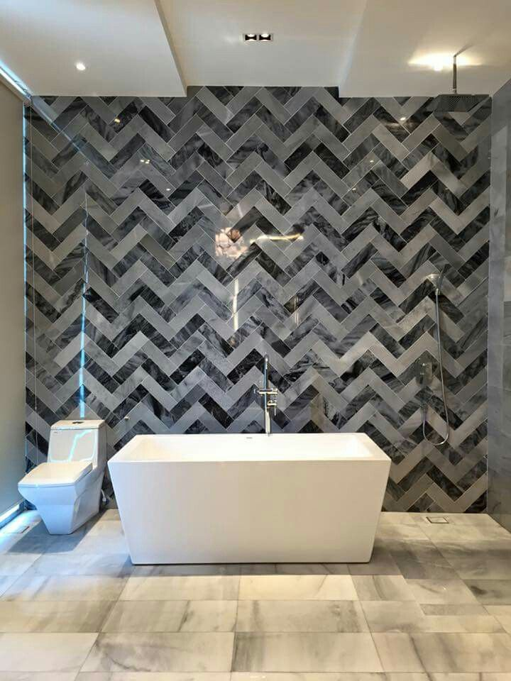Marble feature wall tiles and floor tiles in the bathroom