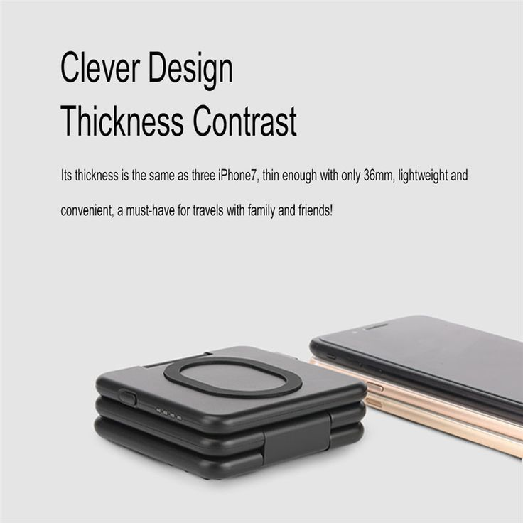 Qi Wireless 5000mAh 5V 2A Fast Charging Power Bank Holder Charger Folding Pad Dock