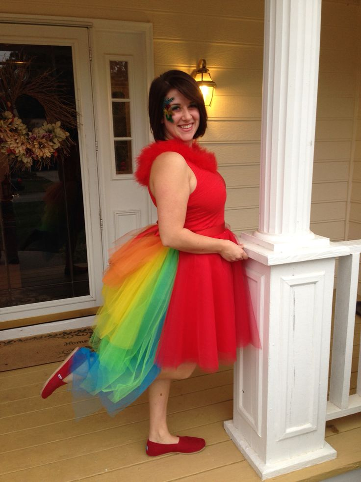 DIY 64-layer parrot tutu costume with bustle