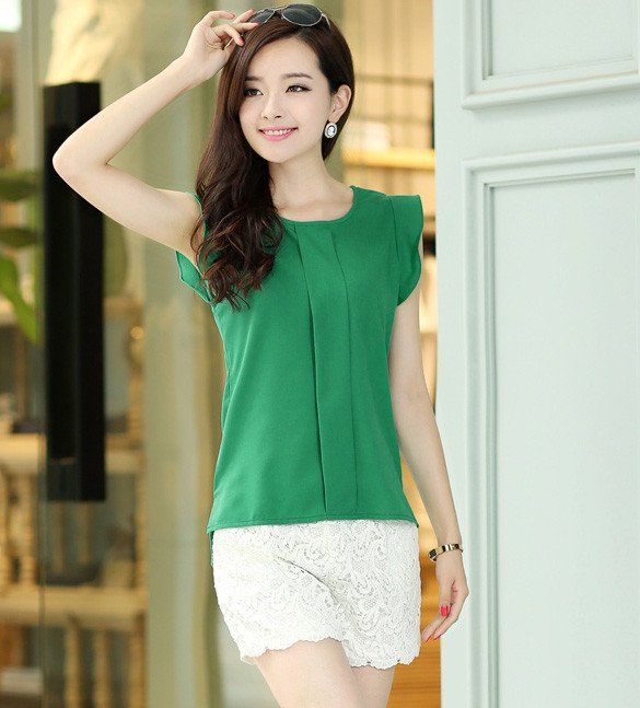 Candy Color Loose Leisure Women's Chiffon Tulip Sleeve Blouse - MeetYoursFashion - 3