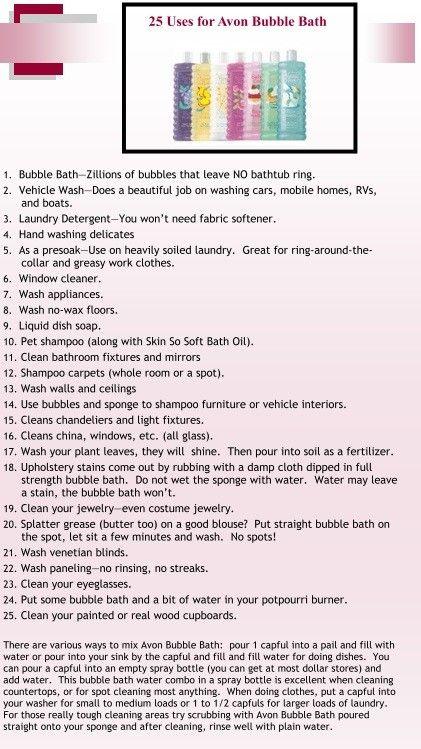 25 uses for Avon bubble bath  #avon   #beauty    Order today @ http://cschnieders.avonrepresentative.com/
