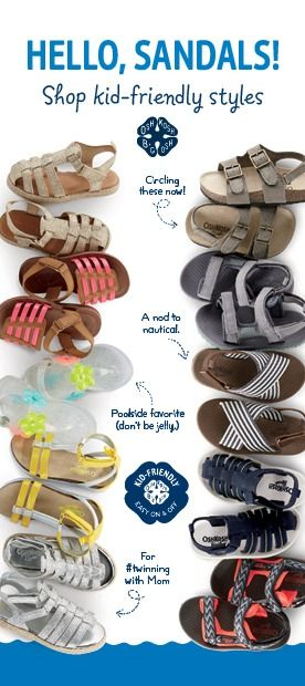 OshKosh.com/shoes has a pair of kids sandals for every adventure this summer. Water shoes, sporty sandals, girls gladiators for #twinning with mom... (!) Pair off!