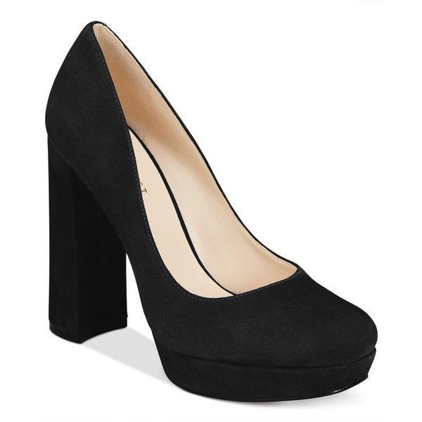 Nine West Delay Block-Heel Platform Pumps ($99) ❤ liked on Polyvore featuring shoes, pumps, black suede, chunky shoes, chunky-heel pumps, platform pumps, chunky black shoes and black shoes