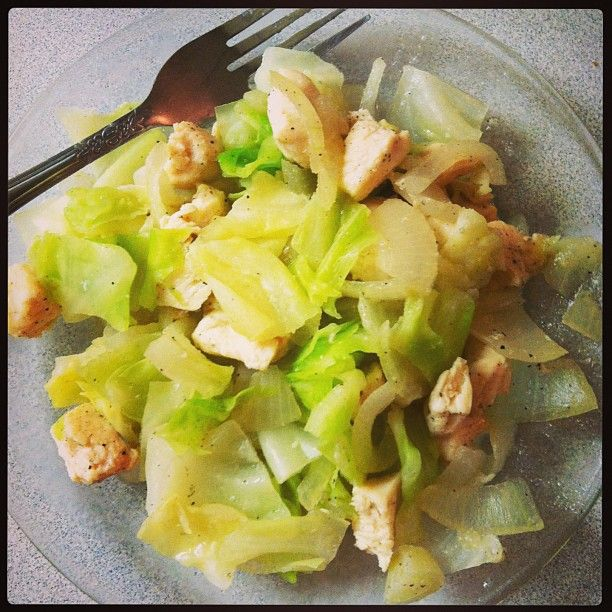 #Omnitrition Phase 2 approved! 4oz chicken, and 4oz of cabbage and onion seasoned with a bit of S&P, added water to the pan and voila! To order your #omnidrops and start losing weight like I am, click to go to my website!