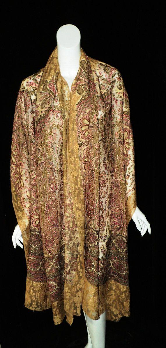 Antique Liberty of London Silk Chiffon Bocaded by Bellasoiree, $875.00