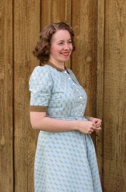 Blue and gold striped cotton 1940s dress.