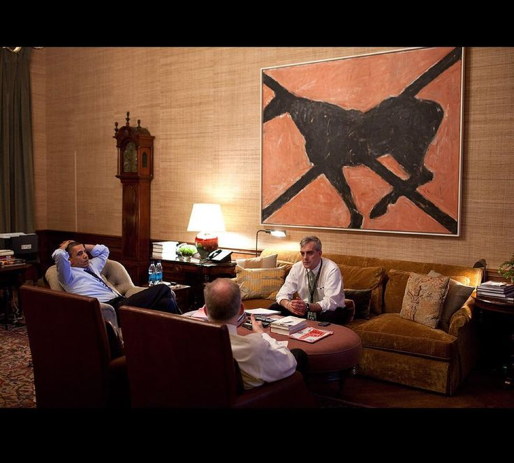 March 2011. Late night meeting with Denis McDonough and John Brennan in the Treaty Room (the President's office in the residence.)