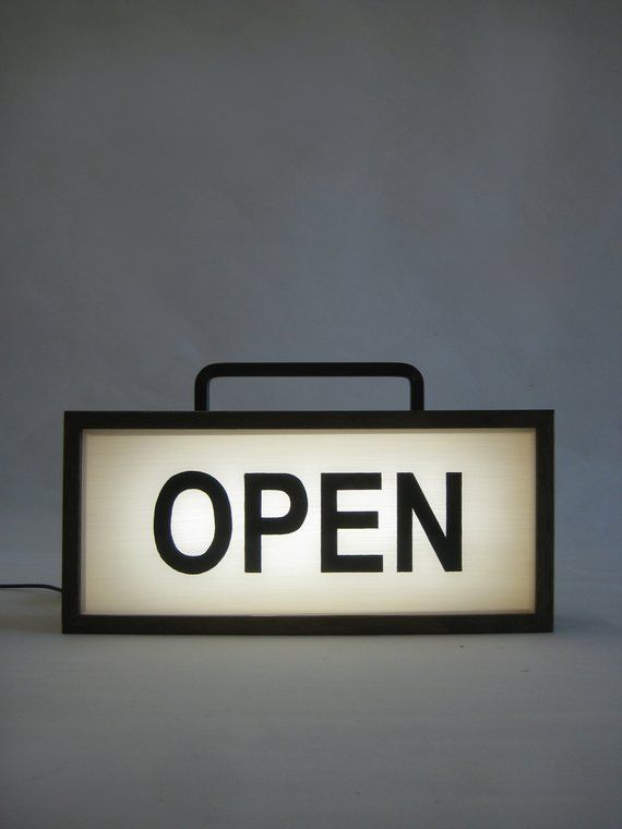 Open Sign Wooden Light Box With Handle Lighted Hand Painted Signs Illuminated Signage Business Window 35 X 16 Inch Timber Lightbox