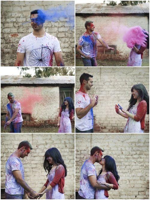 So much FUN! Holi Powder engagement shoot via Bridal Musings