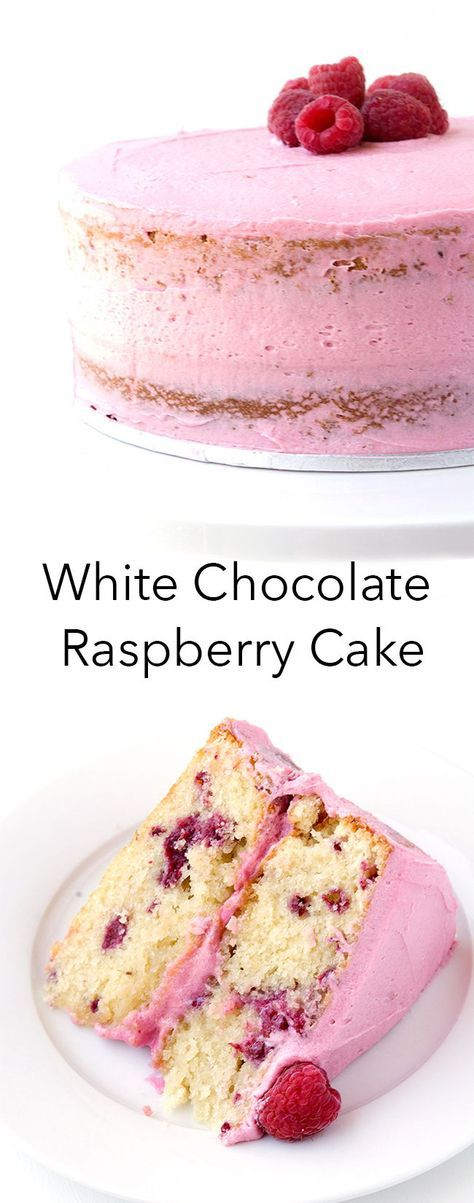This is the BEST White Chocolate Cake I've ever had! With a creamy raspberry buttercream and two layers of buttery white choc cake, it's the perfect dessert for sharing! Recipe from sweetestmenu.com #cake #whitechocolate #raspberry #dessert