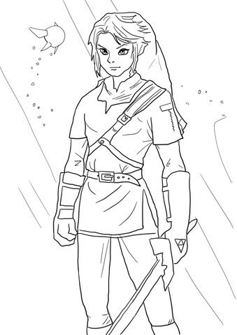 Link From Legend Of Zelda Coloring Page