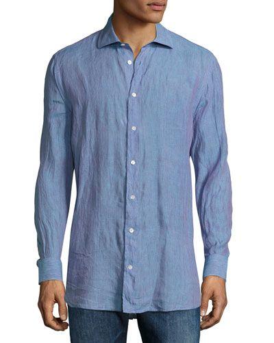 Iridescent Linen Sport Shirt, Multi