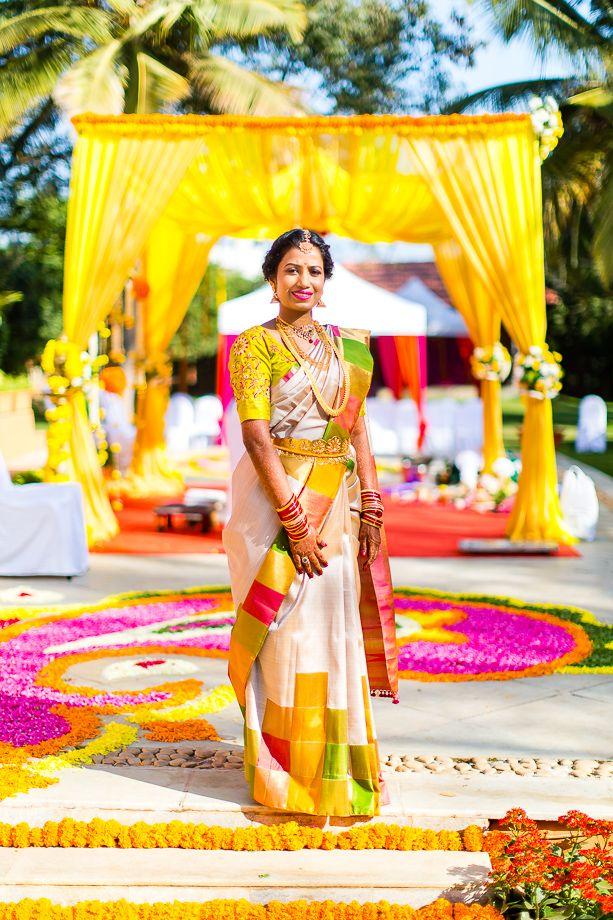 South Indian bride. Temple jewelry. Jhumkis.Cream white silk kanchipuram sari.Braid with fresh flowers. Tamil bride. Telugu bride. Kannada bride. Hindu bride. Malayalee bride.Kerala bride.South Indian wedding.