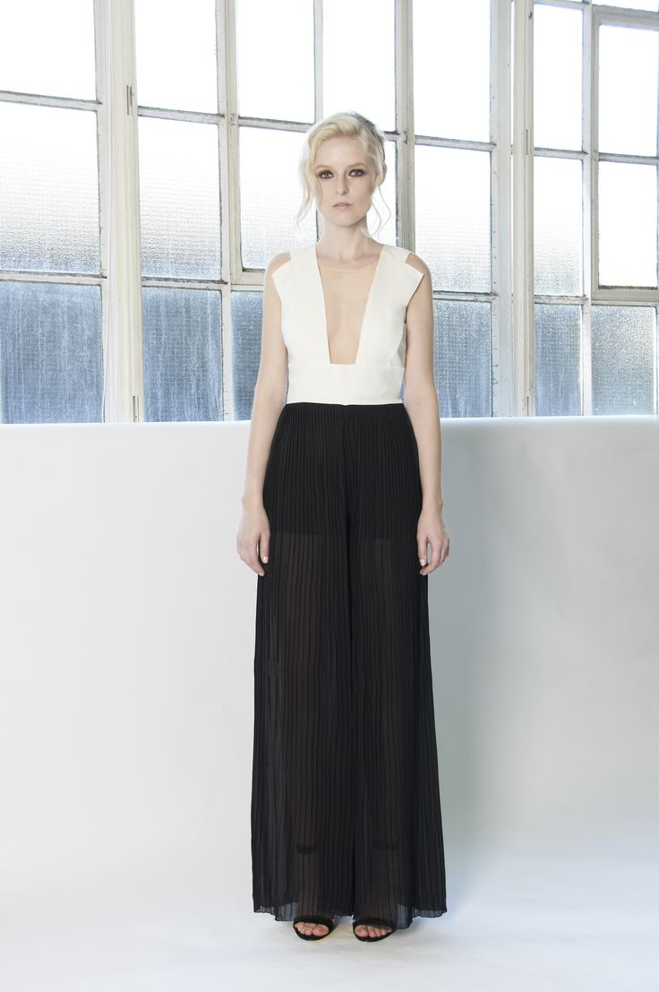 SERENA Black and white jumpsuit with structured top with lapels and sheer pleated flared pants. http://www.lui-s.co/ #MakersAndDoers #inspiration #fashion