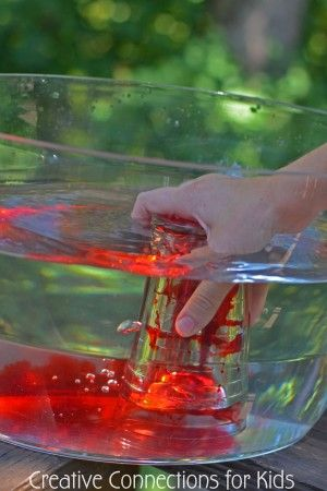 Water science with everyday objects. Creative Connections for Kids #water play