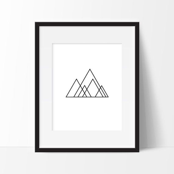 Minimalist Mountain Print Geometry Art Minimalist by TopFoxPrints